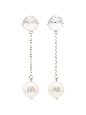 Miu Miu Crystal And Pearl Drop Earrings - Farfetch