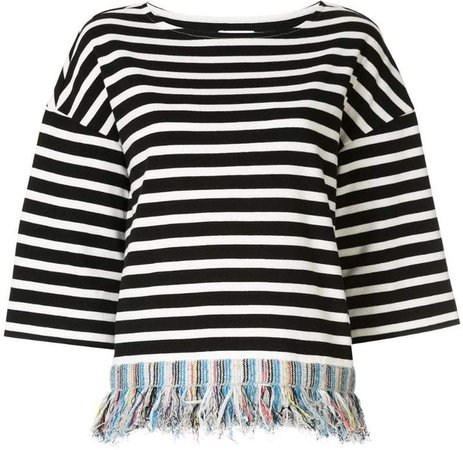 fringed striped T-shirt