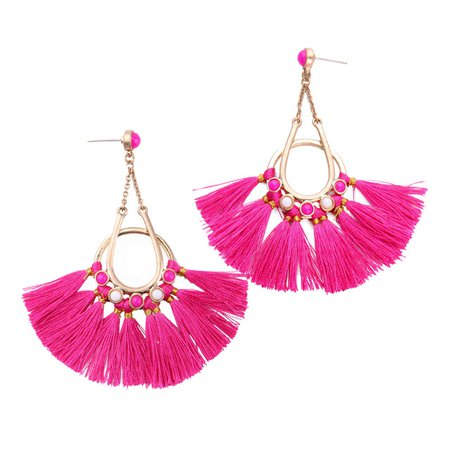 hot pink tassel earrings - Google Search