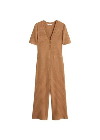 MANGO Ribbed knit juimpsuit