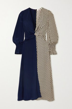 Michelle Knotted Paneled Silk Crepe De Chine Midi Dress - Black