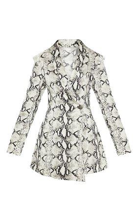White Snake Print Woven Blazer Romper | PrettyLittleThing USA