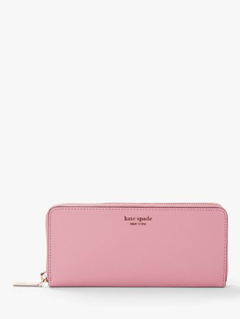kate spade new york Sylvia Leather Slim Continental Purse, Rococo Pink at John Lewis & Partners GBP120
