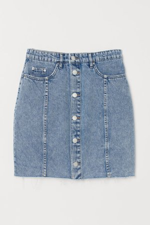 Button-front Denim Skirt - Denim blue/washed - Ladies | H&M US