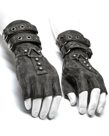 Punk Rave Mens Dieselpunk Fingerless Gloves Grey Gothic Steampunk LARP Gauntlets | eBay