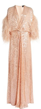 Jenny Packham Feather-Embellished Sequined Gown