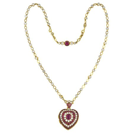 Vintage Gold Ruby and Diamond Heart Pendant