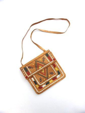 70s Tooled Leather Bag Multicoloured Boho Leather Purse Hippy | Etsy