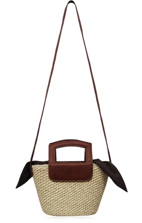 Studio Leather-Trimmed Straw Tote