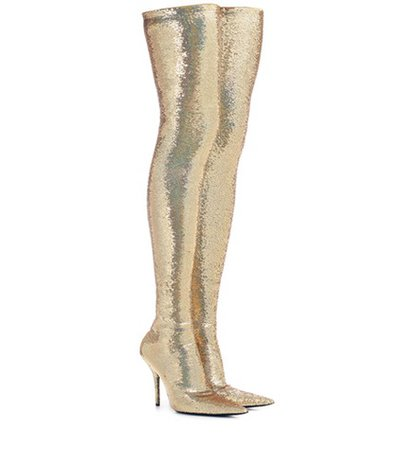 Knife sequinned over-the-knee boots