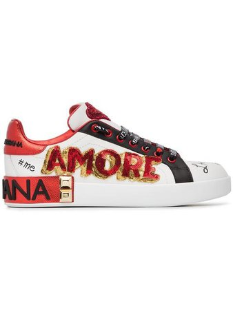 Dolce & Gabbana white, red and black amore heart embroidered leather sneakers $775 - Buy AW18 Online - Fast Global Delivery, Price