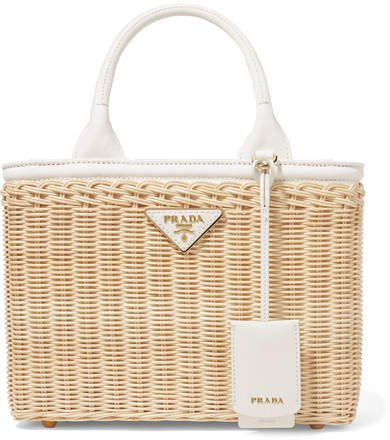 Giardiniera Leather-trimmed Wicker Tote - White
