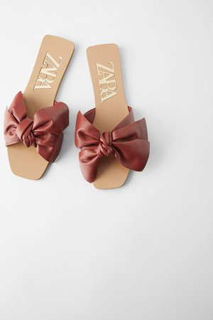 FLAT LEATHER SANDALS WITH BOW | ZARA