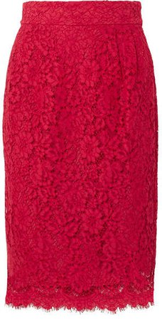 Lace Pencil Skirt - Red