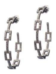 silver Diamond Square Link Hoops