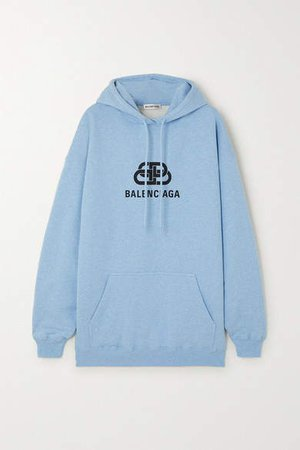 Oversized Printed Cotton-jersey Hoodie - Blue