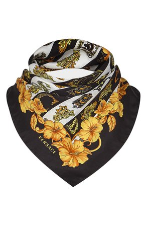 Versace First Line Logo Letters Silk Scarf   Nordstrom