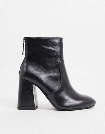 Pull&Bear faux leather heeled ankle boot in black | ASOS