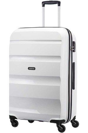 White hardsided suitcase