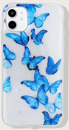 blue butterfly phone case diagnol