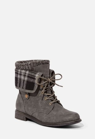 Elenora Plaid Panel Flat Boot in Gray - Get great deals at JustFab