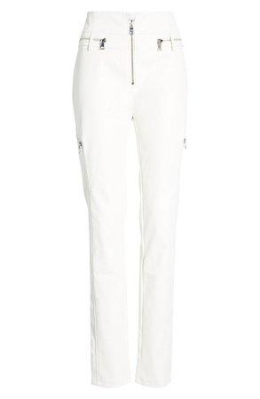 TIGER MIST Lennon Zip Detail Faux Leather Pants In White
