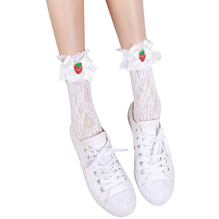 jinxer Female Sweet Lolita Hollow Cotton Ankle Socks Cute Strawberry Bow Lace Hosiery at Amazon Women's Clothing store