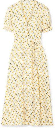 Hana Floral-print Crepe Wrap Dress - Yellow