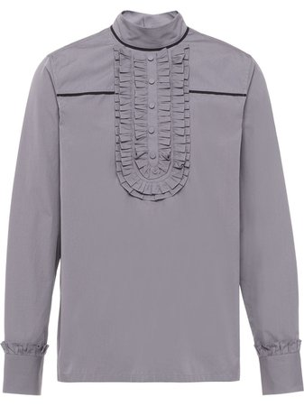 Shop Prada cotton ruffle-trim blouse with Express Delivery - Farfetch