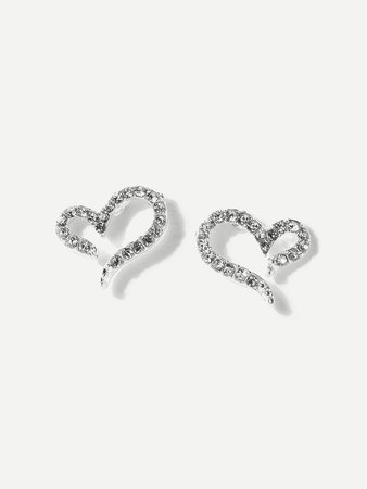 Open Heart Rhinestone Stud Earrings
