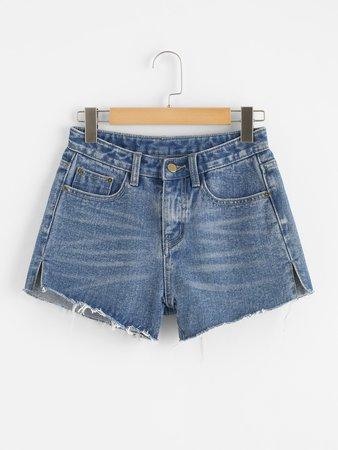 Split Raw Hem Denim Shorts