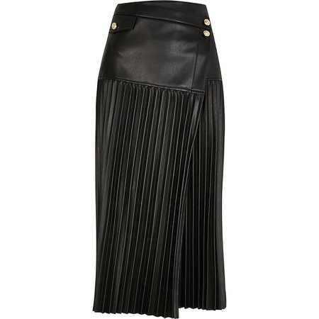 Black wrap front pleated midi skirt | River Island
