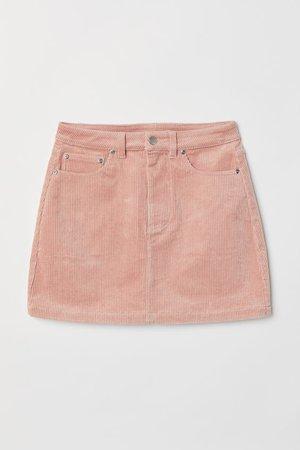Short corduroy skirt - Light pink H&M