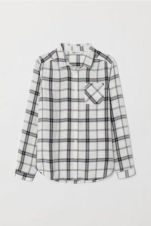 Viscose Shirt - White/black checked - Kids   H&M US