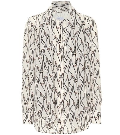 Gancini-print silk blouse