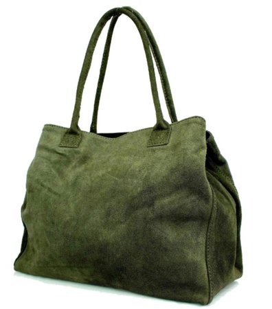 Green suede tote bag
