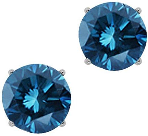 Amazon.com: 1/2cttw Blue Diamond Round Stud Earrings 14k in White Gold (I1-I2): Jewelry