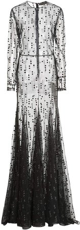 Christian Siriano Flocked Velvet Polka Dot Dress