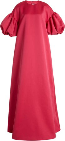 Huishan Zhang Celeste Puff-Sleeve Satin Gown