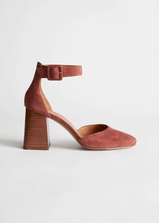 Suede Ankle Strap Heel