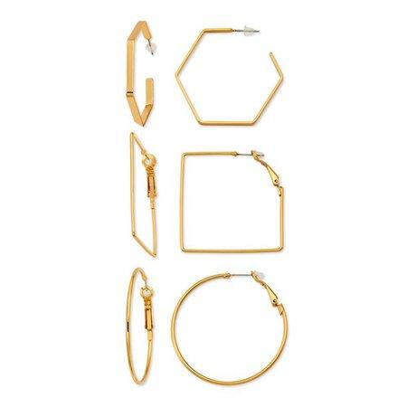 Scoop - Scoop Brass Yellow Gold-Plated Fashion Earring Set - Walmart.com - Walmart.com
