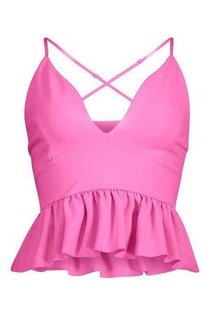 Peplum Bralet Strappy Top | Boohoo pink