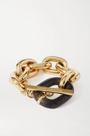 Gold Gold-tone and acrylic bracelet   Paco Rabanne   NET-A-PORTER