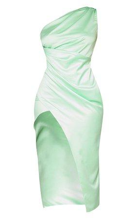 Lime Satin One Shoulder Pleat Detail Midi Dress | PrettyLittleThing USA