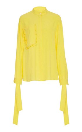 Novis Yellow The Pell Lemon Ruffle Pocket Tie Cuff Blouse