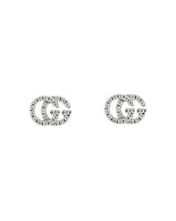 Gucci 18K White Gold GG Running Diamond Stud Earrings | Bloomingdale's