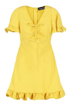 Short Sleeve Frill Skater Dress | boohoo yellow