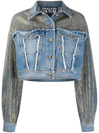 Versace Jeans Couture Studded Frayed Detail Jacket - Farfetch