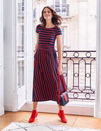Faye Jersey Midi Dress - Navy, Wiggle | Boden US
