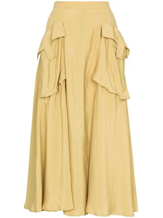 Shop yellow Rejina Pyo oversize pocket A-line skirt with Express Delivery - Farfetch